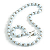 Snow White Wood and Silver Acrylic Bead Necklace, Earrings, Bracelet Set - 70cm Long