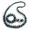 Blue/ Black/ White/ Silver Wooden Bead Long Necklace, Drop Earrings, Flex Bracelet Set - 80cm Long