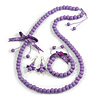 Lilac Wooden Bead with Bow Long Necklace, Bracelet and Drop Earrings - 80cm Long