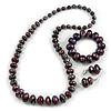 Purple/ Black/ Red/ Silver Wooden Bead Long Necklace, Drop Earrings, Flex Bracelet Set - 80cm Long