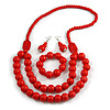 Chunky Red Long Wooden Bead Necklace, Flex Bracelet and Drop Earrings Set - 90cm Long