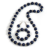 Dark Blue Wood and Silver Acrylic Bead Necklace, Earrings, Bracelet Set - 70cm Long