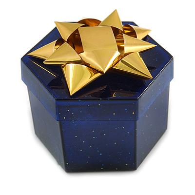 Glitter Blue Bow Ring Jewellery Box - main view