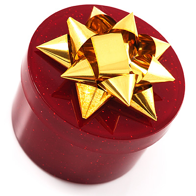 Glitter Burgundy Bow Ring Jewellery Box