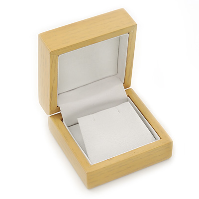Luxury Wooden Natural Pine Earrings Box - main view