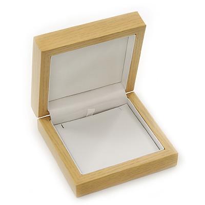 Luxury Wooden Natural Pine Jewellery Presentation Box (Earrings, Pendant, Brooch) - main view