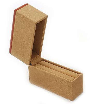 Light Brown/Beige Leatherette/Wood Bangle/Watch Box