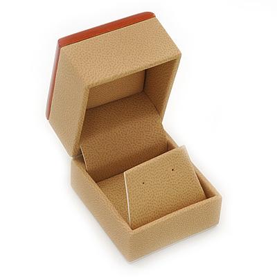 Light Brown/Beige Leatherette/Wood Stud Earrings Box - main view