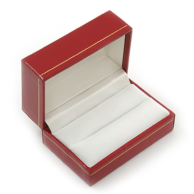 Burgundy Red Leatherette One & Two Rings Box