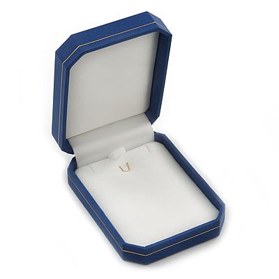 Large Blue Leatherette Brooch/ Pendant/ Earrings Octagonal Jewellery Box - main view