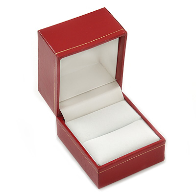 Large Burgundy Red Leatherette Ring Box - main view