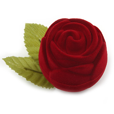 Dark Red Rose Gift Box for Small Rings