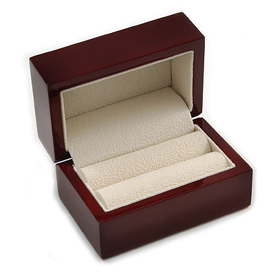 Luxury Wooden Mahogany Gloss Wedding Double Ring/ Stud Earrings Box (Rings are not included)