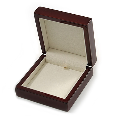 Luxurious Mahogany Gloss Wood Jewellery Presentation Box (Earrings, Brooch, Bracelet, Pendant)