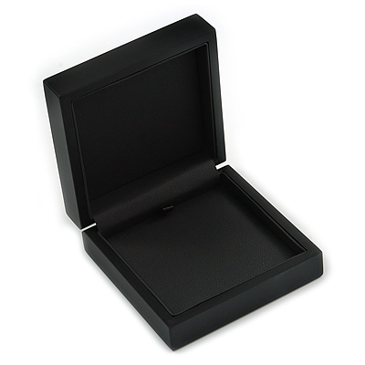 Luxurious Black Matt Wood Jewellery Presentation Box (Earrings, Brooch, Bracelet, Pendant)