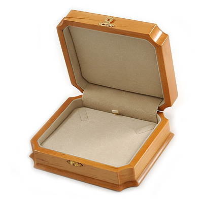 Victorian Style Luxury Wood Oak Gloss Jewellery Presentation Box (Earrings, Pendant, Bracelet, Brooch)