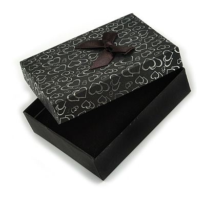Black/Silver with Silk Bow Heart Motif Card Pendant/Necklace/Brooch/Earring/Set Box