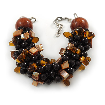 Teen/ Children/ Kids Black/ Brown Glass Bead Chunky Bracelet - 15cm L/ 3cm Ext