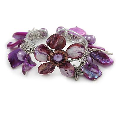 Purple Sea Shell, Faux Pearl Bead Floral Cuff Bracelet In Silver Tone - Adjustable