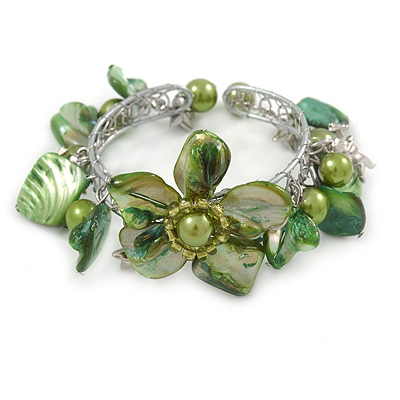 Green Sea Shell, Faux Pearl Bead Floral Cuff Bracelet In Silver Tone - Adjustable