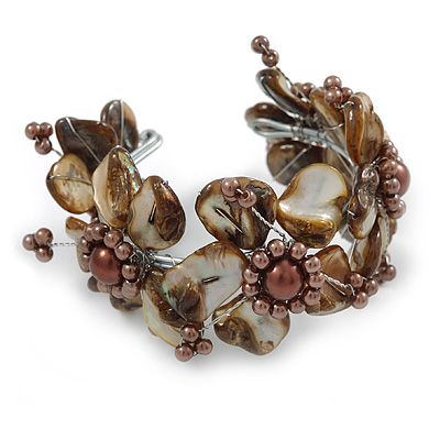 Taupe/ Brown Floral Sea Shell & Simulated Pearl Cuff Bracelet (Silver Tone) - Adjustable