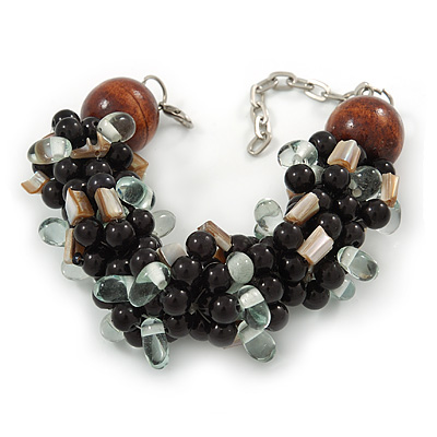Teen/ Children/ Kids Black/ Transparent Glass Bead Chunky Bracelet - 15cm L/ 3cm Ext