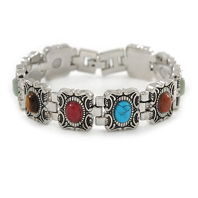 Vintage Inspired Multicoloured Semiprecious Stones Ladies Magnetic Bracelet - 17cm L (Medium)