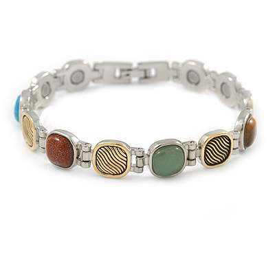 Plated Alloy Metal Multicoloured Semiprecious Stones Ladies Magnetic Bracelet - 18cm Long