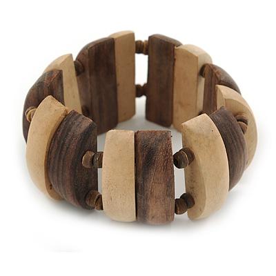 Natural/ Brown Wood Flex Bracelet - 19cm L - main view