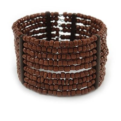 Brown Glass Bead Flex Cuff Bracelet - Medium