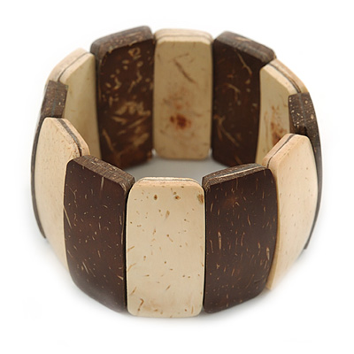 Brown/ Natural Wooden Station Flex Bracelet - 17cm L