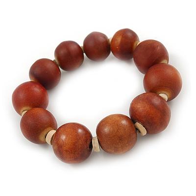 Light Brown Graduated Wood Bead Flex Bracelet - 18cm L - main view