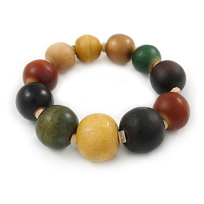 Multicoloured Graduated Wood Bead Flex Bracelet - 18cm L - main view