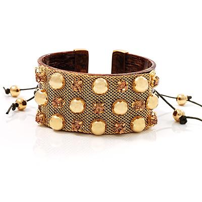 Brown Crystal Mesh Plastic Fashion Bangle Bracelet