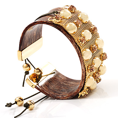 Brown Crystal Mesh Plastic Fashion Bangle Bracelet - avalaya.com