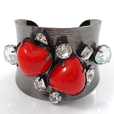 Double Heart Wide Metal Fashion Cuff - avalaya.com