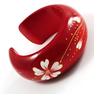 Red Wood Floral Cuff - avalaya.com