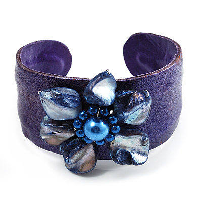 Leather Shell Floral Cuff Purple avalaya com from avalaya.com