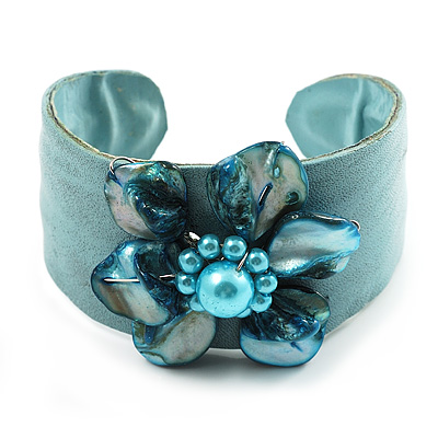 Leather Shell Floral Cuff (Turquoise) - avalaya.com :  floral bracelets fashion accessories cuff
