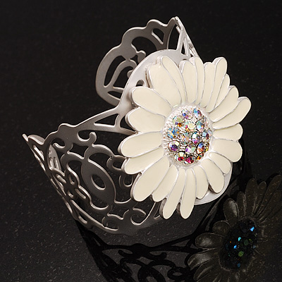 Ivory Enamel Crystal Daisy Cuff - avalaya.com :  flower bracelets jewelry cuff