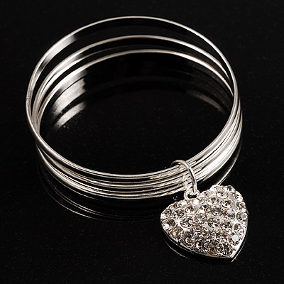 Silver-Tone Crystal Heart Set Of 3 Bangles