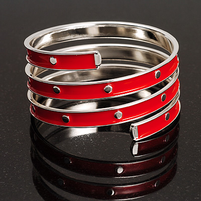 Red Warped Enamel Wide Bangle - avalaya.com