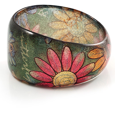 Floral Glittering Resin Bangle - avalaya.com :  floral jewellery boho resin