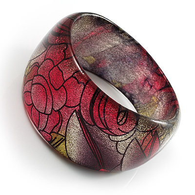 Abstract Pattern Glittering Resin Bangle - avalaya.com