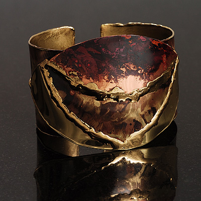 Brass Leaf Shaped Ethnic Cuff avalaya com from avalaya.com