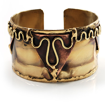 Wide Brass Ornate Ethnic Cuff Bangle