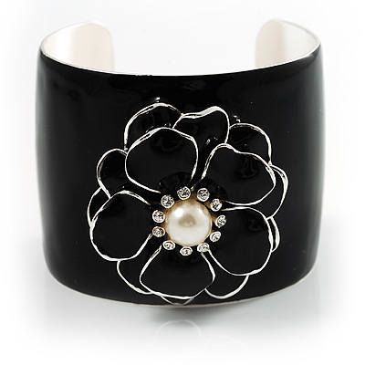 Black Wide Enamel Floral Cuff Bangle - avalaya.com :  jewelry cuff bracelet flower pearl