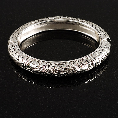 Silver Tone Vintage Inspired Hinged Bangle Bracelet - main view