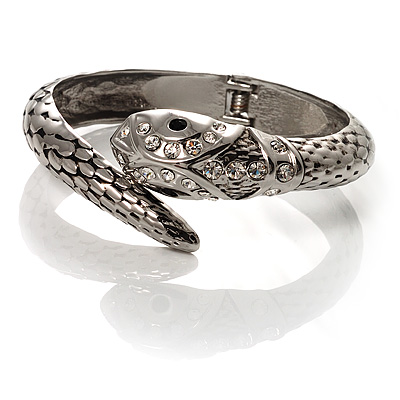 Silver Tone Crystal Snake Bangle Bracelet