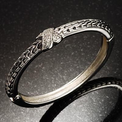 Silver Tone Textured Crystal Cross Hinged Bangle Bracelet
